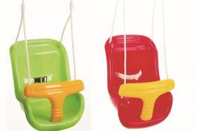 Baby-Sicherheitsschaukel, Seile längenverstellbar bis 200 cm, mit verzinkter Aufhängung, rot und grü