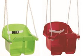 Babyschaukel, Seile längenverstellbar bis 200 cm, mit verzinkter Aufhängung, rot und grün