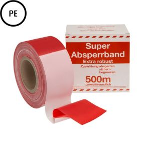 Absperrband, 500 m, 80 mm, Polyethylen, rot-weiß, 1 Rolle