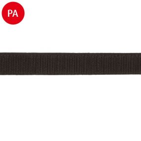 Klett- und Flauschband, Hakenband, Polyamid, 20 mm, schwarz, zum Einnähen, 1 m, 50 m