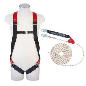 Absturzsicherungs-Set Seil, Auffanggurt (DIN EN 361), verstellbare Schulter- u. Beingurte, Polyamid,