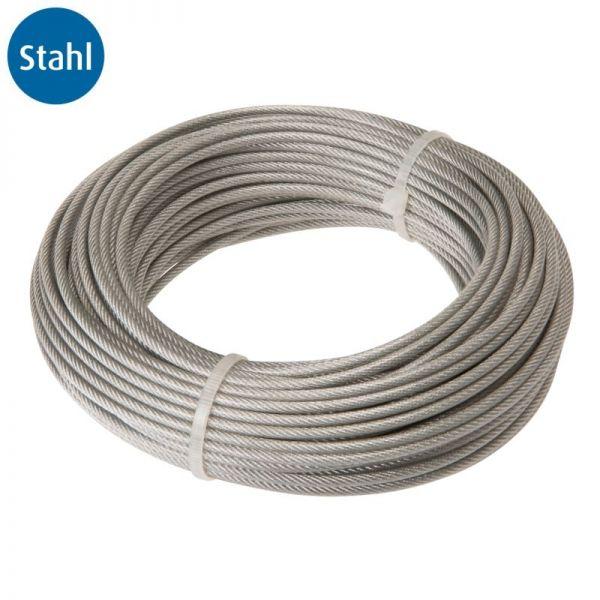 Drahtseil, 6 X 7, Stahl, PVC-ummantelt (2/3 mm), 3 mm, 30 m   Stahl ...