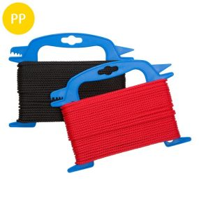 Seil, 8-fach geflochten, Polypropylen, multifil, 3 mm, rot / schwarz, 30 m, 8 St
