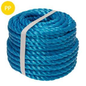 Seil, 3-schäftig gedreht, Polypropylen-Split, 12 mm, blau, 20 m