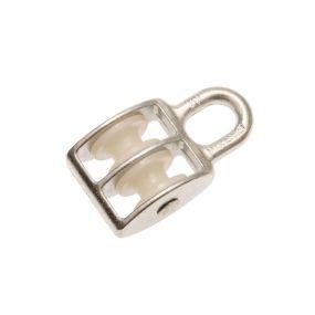 Block-Seilrolle, doppelt, Stahl, Seilrolle aus Kunststoff, für Faserseile, 6 mm, 1 St