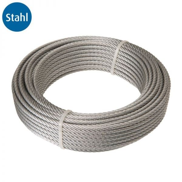 Drahtseil, 6 x 7-FC, Stahl, 4 mm, 20 m, 4 St   Stahl-Seil 6x7-FC ...